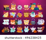 happy halloween stickers flat... | Shutterstock .eps vector #496238425