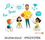 handisport. handicapped kids.... | Shutterstock .eps vector #496241986