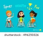 handisport. handicapped kids...   Shutterstock .eps vector #496250326