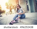 urban vintage portrait of... | Shutterstock . vector #496252438