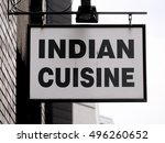indian cuisine sign outside... | Shutterstock . vector #496260652