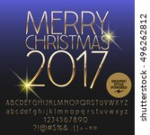 vector shiny merry christmas... | Shutterstock .eps vector #496262812