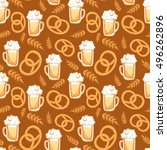 seamless vector beer with... | Shutterstock .eps vector #496262896