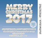 vector white merry christmas... | Shutterstock .eps vector #496262962