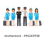 group of pilots and flight... | Shutterstock .eps vector #496265938