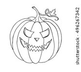 pumpkin vector on black... | Shutterstock .eps vector #496267342