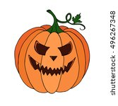 pumpkin vector on black... | Shutterstock .eps vector #496267348
