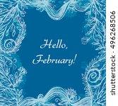 hello february lettering on... | Shutterstock .eps vector #496268506