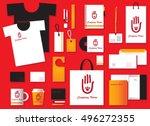 corporate identity template set.... | Shutterstock .eps vector #496272355