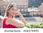 smiling attractive young woman... | Shutterstock . vector #496279495