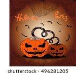 halloween. attributes of the... | Shutterstock .eps vector #496281205