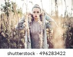 outdoor fashion photo of young... | Shutterstock . vector #496283422