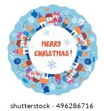 christmas and new year greeting ... | Shutterstock .eps vector #496286716