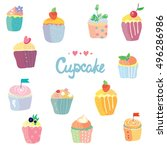 cupcakes set in funny style ... | Shutterstock .eps vector #496286986