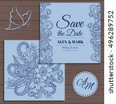 wedding invitation card suite... | Shutterstock .eps vector #496289752