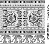 pattern with baby elephant and... | Shutterstock .eps vector #496291642