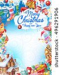 background for christmas card | Shutterstock .eps vector #496291906
