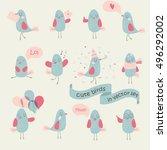 vector set of cute birds in... | Shutterstock .eps vector #496292002
