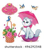 Stock vector glamorous cat with umbrella 496292548