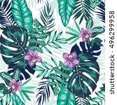vector seamless dense tropical... | Shutterstock .eps vector #496299958