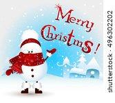 cute  funny  little snowman... | Shutterstock . vector #496302202
