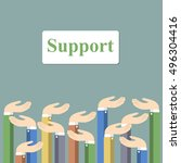 image support concept. hands... | Shutterstock .eps vector #496304416