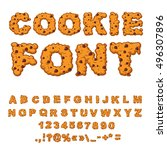 cookies font. biscuits with... | Shutterstock .eps vector #496307896