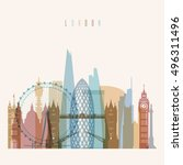 transparent styled london... | Shutterstock .eps vector #496311496