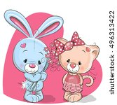 cute cartoon cat and rabbit on... | Shutterstock .eps vector #496313422