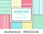 vector tribal texture set of... | Shutterstock .eps vector #496321636