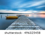 small dock and boat at the lake ... | Shutterstock . vector #496325458
