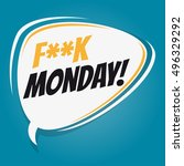 don't like monday retro cartoon ... | Shutterstock .eps vector #496329292