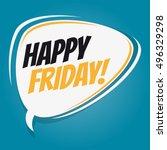 happy friday retro cartoon...   Shutterstock .eps vector #496329298