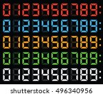 led numbers display digital... | Shutterstock .eps vector #496340956