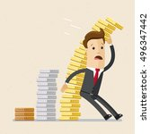 businessman or manager is... | Shutterstock .eps vector #496347442