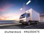 3d rendering of delivery truck... | Shutterstock . vector #496350475