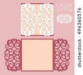 laser cut wedding invitation... | Shutterstock .eps vector #496360576