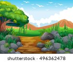 nature scene with hills and... | Shutterstock .eps vector #496362478