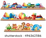 many toys on wooden shelves... | Shutterstock .eps vector #496362586