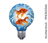 vector color goldfish bulb... | Shutterstock .eps vector #496363366