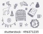 winter christmas home objects... | Shutterstock .eps vector #496371235