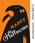 happy halloween with candle ... | Shutterstock .eps vector #496378072