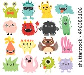 cute monster color character... | Shutterstock .eps vector #496383106