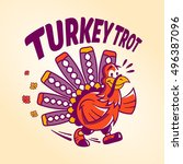 a turkey trot logo for... | Shutterstock .eps vector #496387096