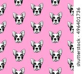 seamless pattern with cute dogs ... | Shutterstock .eps vector #496401736