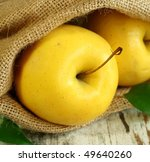 apples in a sacking bag