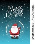 merry christmas poster. vector... | Shutterstock .eps vector #496404088