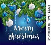 christmas balls on a tree... | Shutterstock .eps vector #496412335