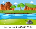 scene with river run through... | Shutterstock .eps vector #496420996
