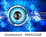 future technology  blue silver... | Shutterstock .eps vector #496422268